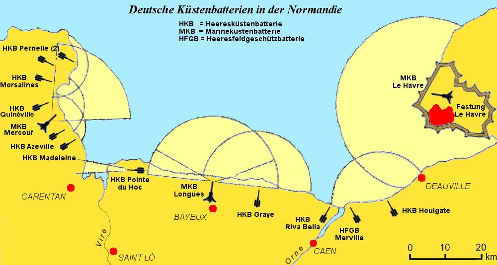 Les batteries côtières allemandes en Normandie avec celle de Merville au nord-est de Caen