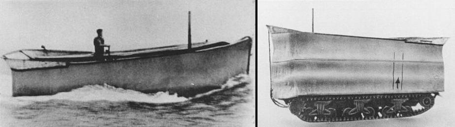 Vue du char Sherman DD navigant sur un lac anglais